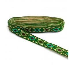 Bordado Indio - Rombos - Verde abeto, caqui, verde turquesa y marrón - 30 mm - Babachic/Moodywood