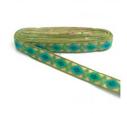 Bordado Indio - Rombos - Caqui, verde, azul y verde agua - 30 mm - Babachic/Moodywood