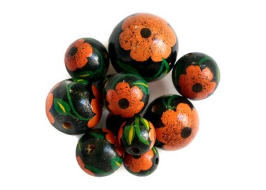 Cuentas de madera - Hibiscus - Negro y naranja