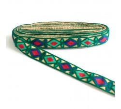 Bordado Indio - Rombos - Verde obscuro, azul, verde turquesa y rojo - 30 mm - Babachic/Moodywood