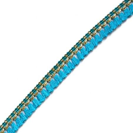 Cinta de flecos - Algodón azul claro y dorado - 15 mm