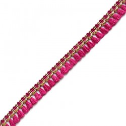 Tassels ribbon - Fuchsia cotton and golden - Babachic/Moodywood -15 mm