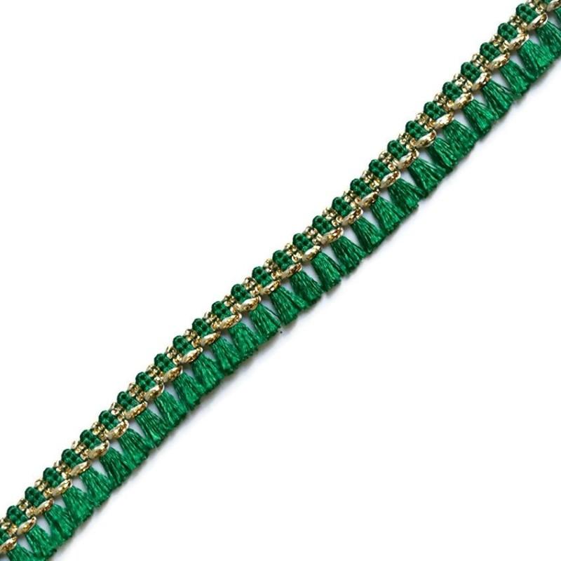 Cinta de flecos de algodón verde y dorado - Babachic/Moodywood - 15 mm