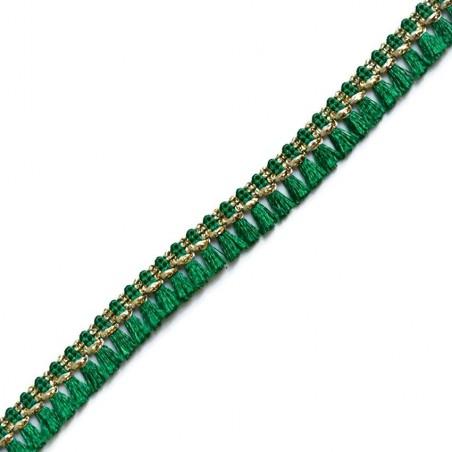 Cinta de flecos - Algodón verde y dorado - 15 mm
