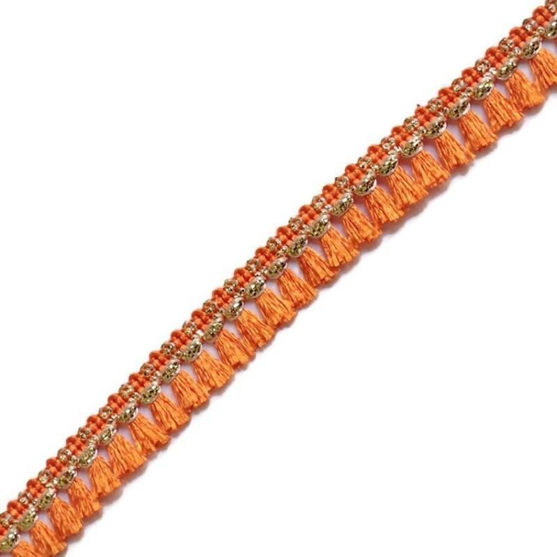 Cinta de flecos de algodón naranja y dorado - Babachic/Moodywood - 15 mm
