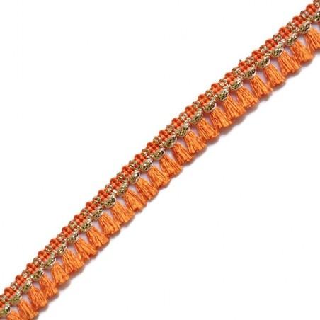 Cinta de flecos - Algodón naranja y dorado - 15 mm