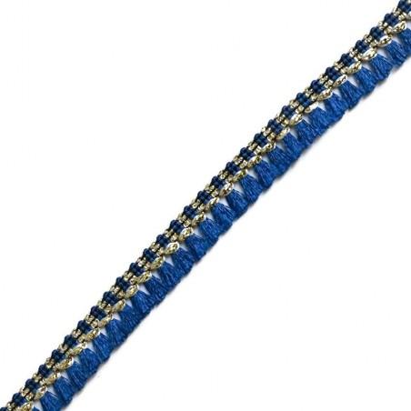 Cinta de flecos - Algodón azul marino y dorado - 15 mm