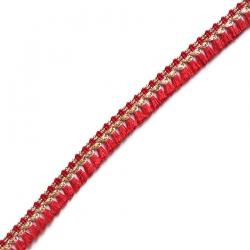 Cinta de flecos de algodón rojo y dorado - Babachic/Moodywood - 15 mm