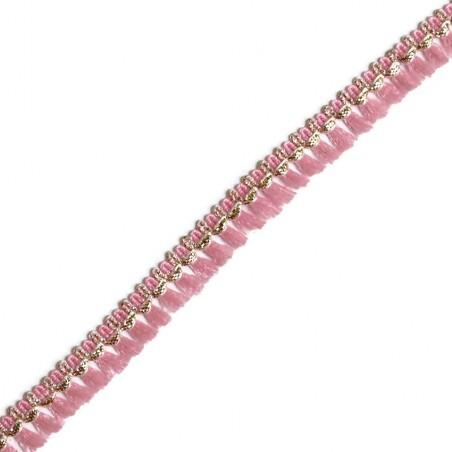 Cinta de flecos - Algodón rosa y dorado - 15 mm