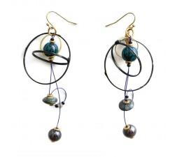 Pendientes larga con estilo retro negro y azul oscuroimage boucle d'oreille sphère noire - pics black  earrings - imagen pendie