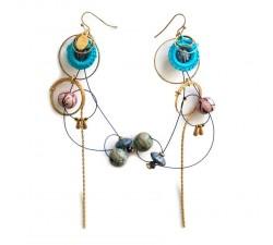 Pendientes larga con estilo retro azul claro y rosa babachic moodywood