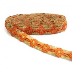Cinta de jute decorada de cinta naranja - 30 mm
