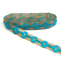 Cinta de jute decorada de cinta turquesa - 30 mm