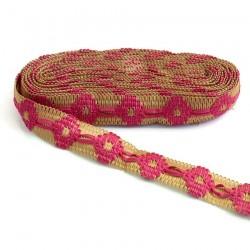 Cinta de jute decorada de cinta fuscia - 30 mm