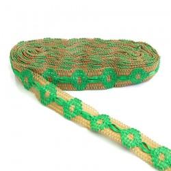 Cinta de jute decorada de cinta verde - 30 mm