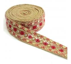 Tul bordada con lentejuelas - Rojo - 50 mm