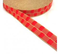 Cinta fina con cadrados rojo y hilo dorado de lurex - 20 mm