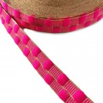 Cinta fina con cadrados rosa y hilo dorado de lurex - 20 mm