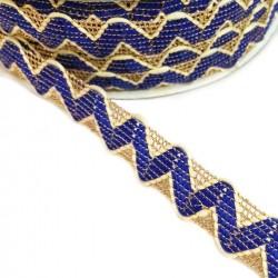 Cinta tipo ricrac Azul con hilo de lurex dorado - 20 mm