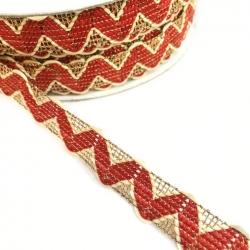 Cinta tipo ricrac rojo con hilo de lurex dorado - 20 mm