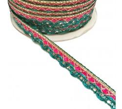 Galón Indien - Rosa y verde - 10 mm