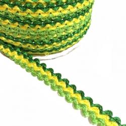 Galón Indien - Verde y amarillo - 10 mm