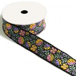 Cinta Floral - Amarillo, rosa sobre fondo negro - 35 mm