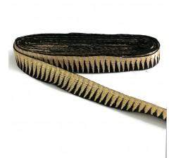 Bordado negro con picos dorado - 30 mm