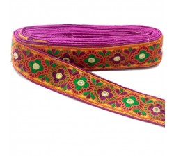 Cinta decorativa India - Magenta, naranja y verde - 60 mm