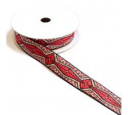 Cinta gráfica - Azteca - Rojo, negro y plateado - 20 mm