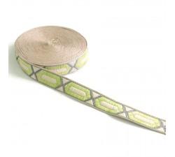 Galón tejido - Hexágono alargado - Verde limon - 20 mm