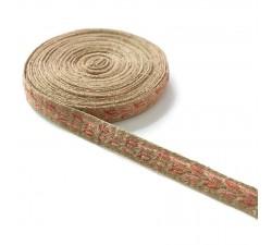 Galón tejido - Typo antiguo - Rosa y lurex dorado - 20 mm