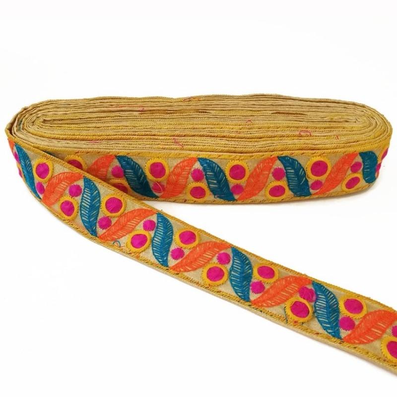 Cinta bordada de hojas azul y naranja y pequeños círculos fucsia fondo beige - 35 mm - Babachic/Moodywood