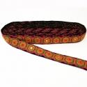 Pasamanería étnica bordada - Formas geométricas hexágonos con espejitos - Multicolores - 25 mm