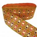 Pasamanería bordada de rombos de algodón e hilo dorado - 90 mm