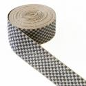 Cinta tejida de cuadros - Beige y gris plateado - 45 mm