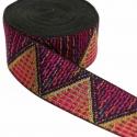 Galón tejido - Triángulos - Rosa y dorado - 50 mm