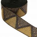 Galón tejido - Triángulos - Beige y dorado - 50 mm