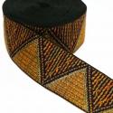 Galón tejido - Triángulos - Amarillo y dorado - 50 mm