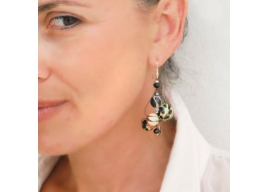 Pendientes beige/negro Twist - 4 cm - Winter nights